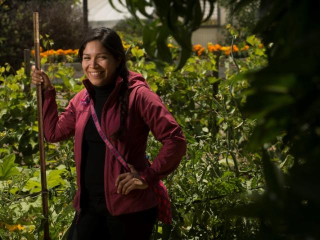 Carmen Cortez, a graduate in ecology, stands in the Ecological Garden of the Student Farm on Friday May 19, 2015 at UC Davis. Her graudate work is on farming in Belize and she spent over a year there. She will be part of the Graduate Studies brochure.